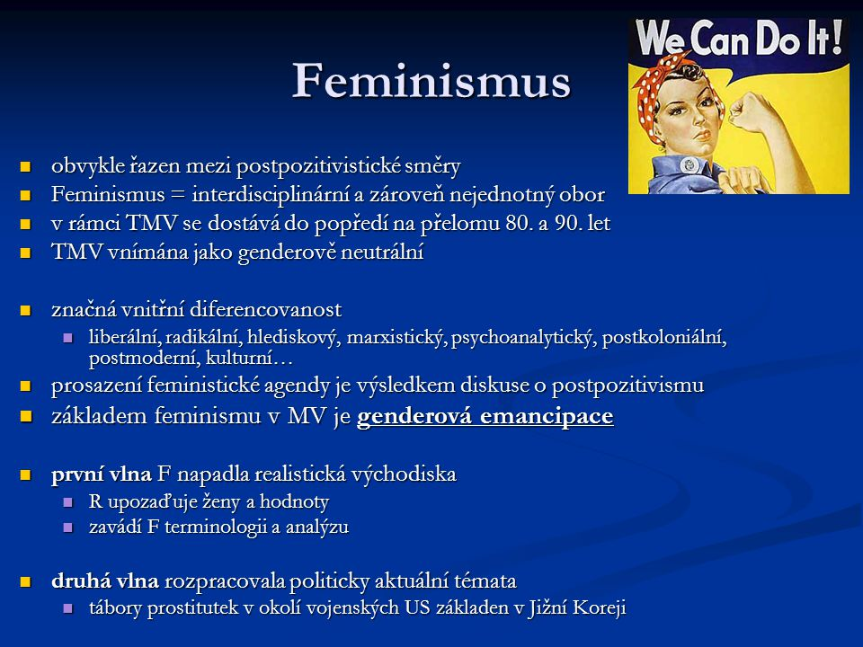 Feminismus základem feminismu v MV je genderová emancipace