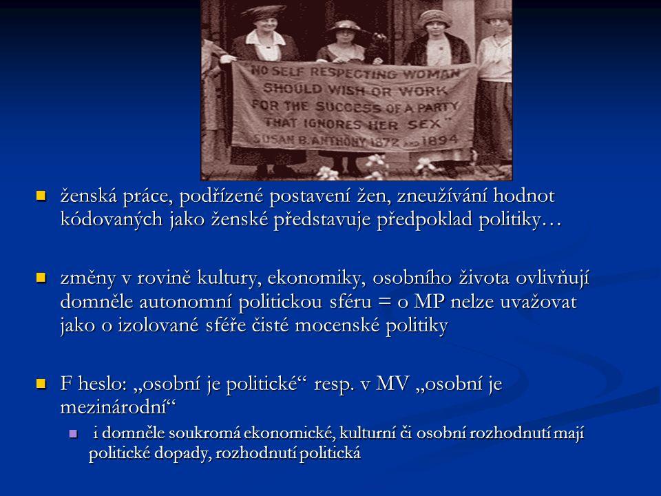 """F heslo: """"osobní je politické resp. v MV """"osobní je mezinárodní"""