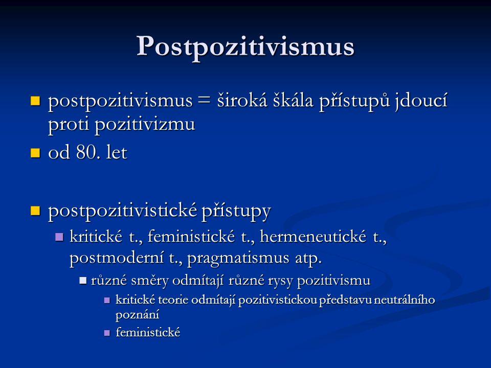 Postpozitivismus postpozitivismus = široká škála přístupů jdoucí proti pozitivizmu. od 80. let. postpozitivistické přístupy.