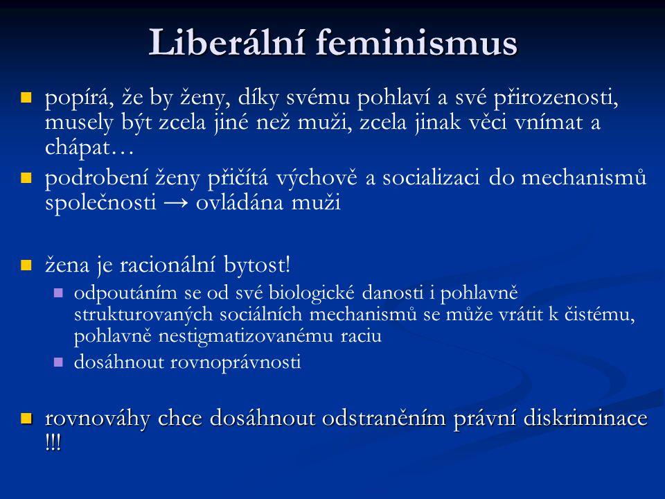 Liberální feminismus popírá, že by ženy, díky svému pohlaví a své přirozenosti, musely být zcela jiné než muži, zcela jinak věci vnímat a chápat…