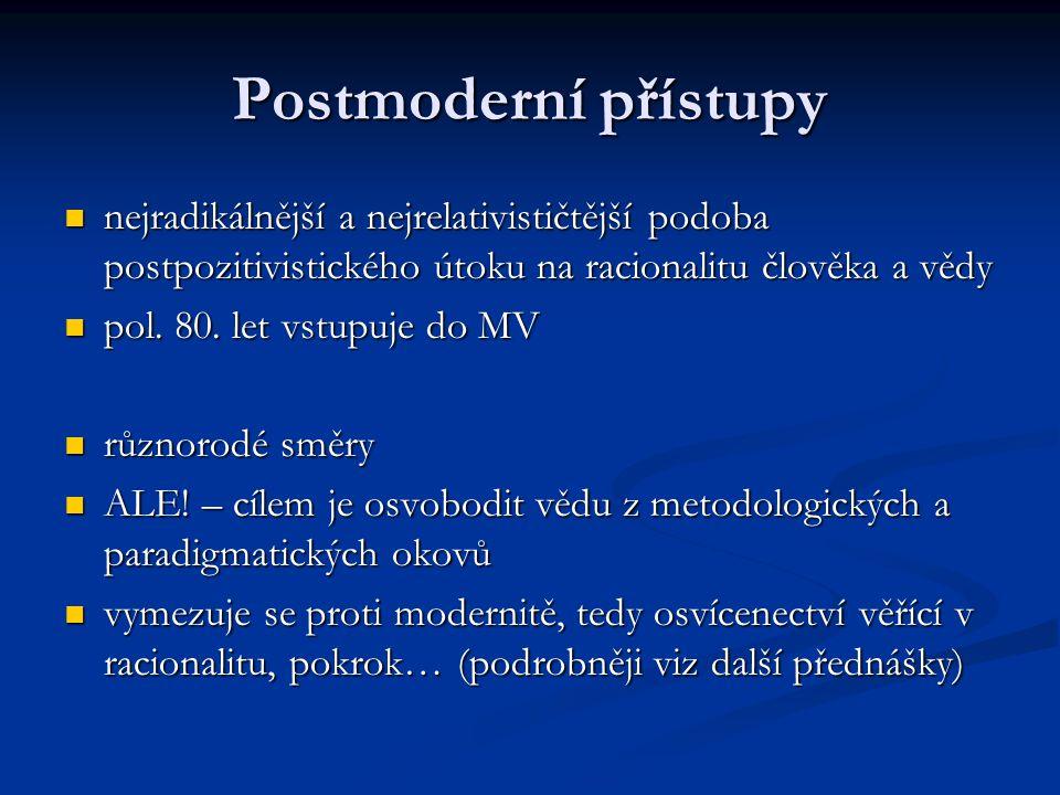 Postmoderní přístupy nejradikálnější a nejrelativističtější podoba postpozitivistického útoku na racionalitu člověka a vědy.