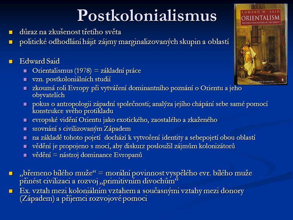 Postkolonialismus důraz na zkušenost třetího světa