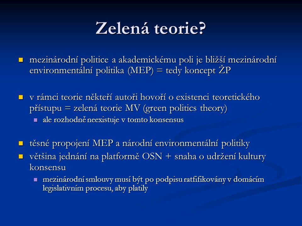Zelená teorie mezinárodní politice a akademickému poli je bližší mezinárodní environmentální politika (MEP) = tedy koncept ŽP.