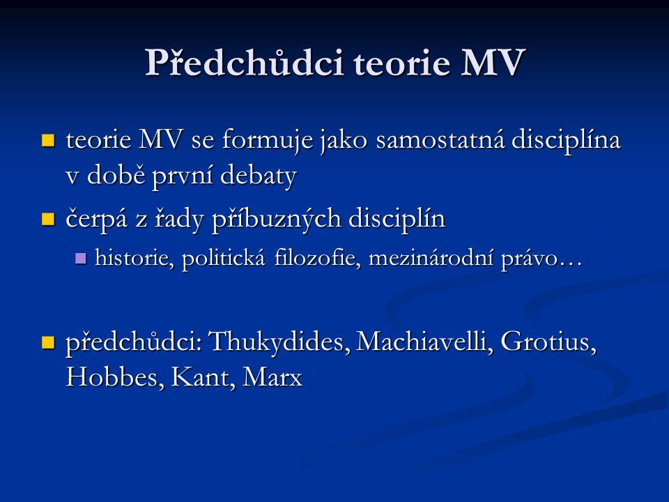 Předchůdci teorie MV teorie MV se formuje jako samostatná disciplína v době první debaty. čerpá z řady příbuzných disciplín.