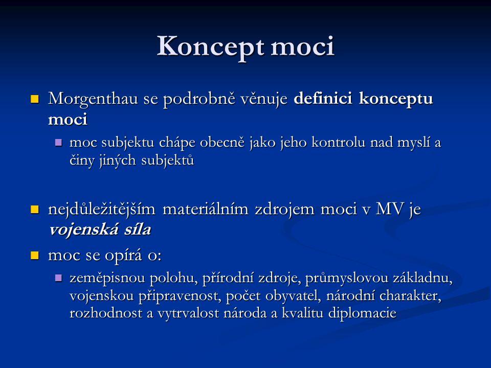 Koncept moci Morgenthau se podrobně věnuje definici konceptu moci