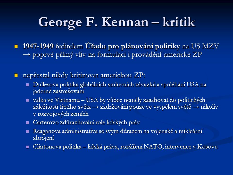 George F. Kennan – kritik