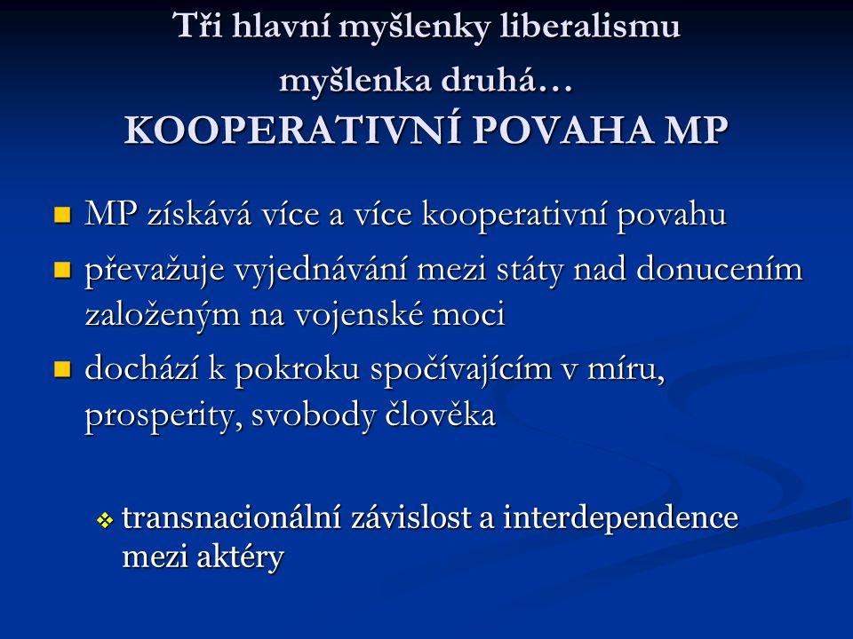 Tři hlavní myšlenky liberalismu myšlenka druhá… KOOPERATIVNÍ POVAHA MP