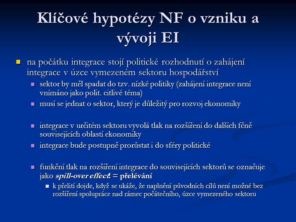 Klíčové hypotézy NF o vzniku a vývoji EI