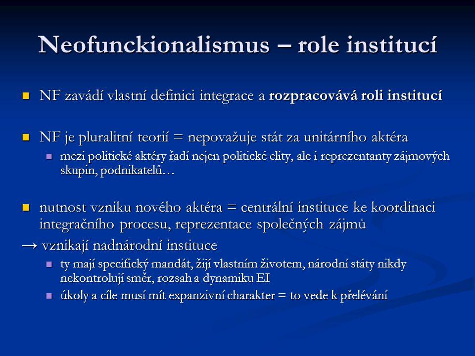 Neofunckionalismus – role institucí