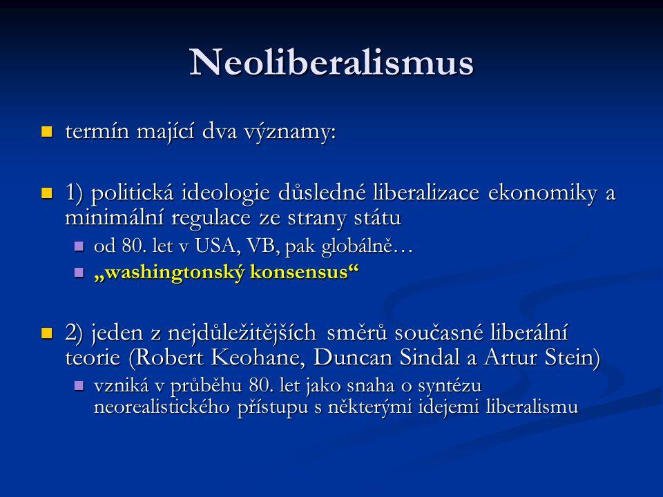 Neoliberalismus termín mající dva významy: