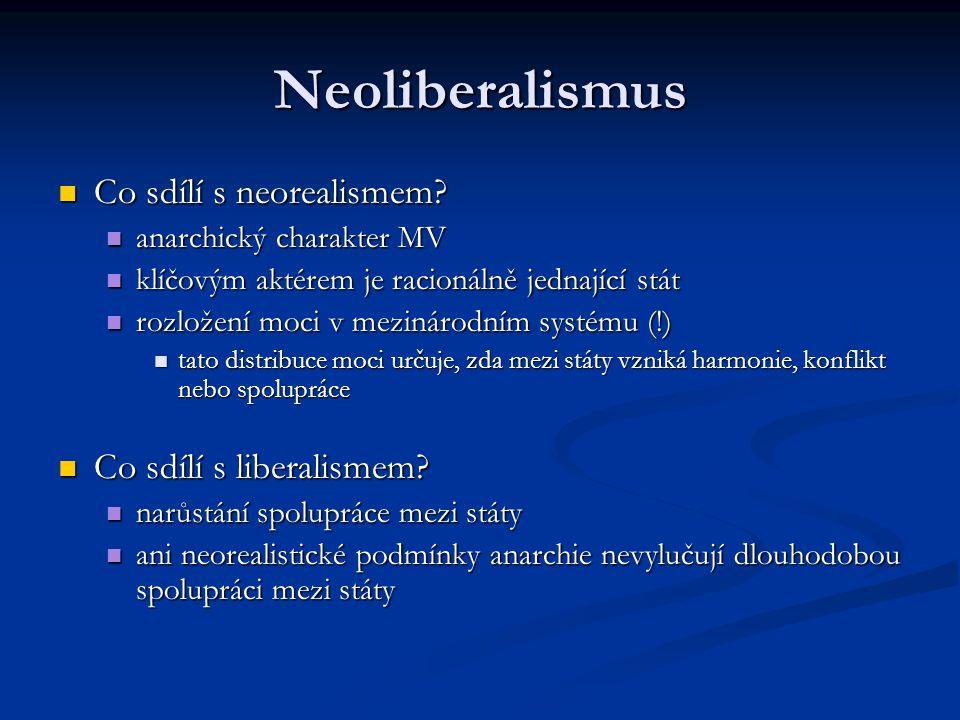 Neoliberalismus Co sdílí s neorealismem Co sdílí s liberalismem