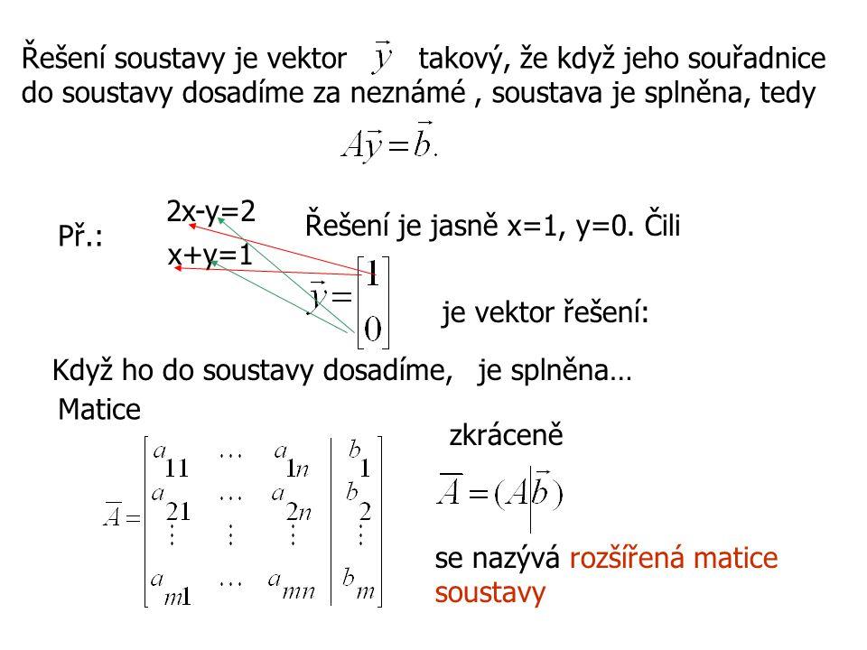 Řešení soustavy je vektor takový, že když jeho souřadnice