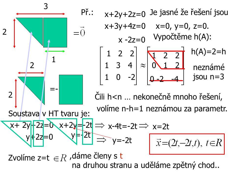 3 Př.: Je jasné že řešení jsou. x+2y+2z=0. x+3y+4z=0. x=0, y=0, z=0. 2. Vypočtěme h(A): x -2z=0.