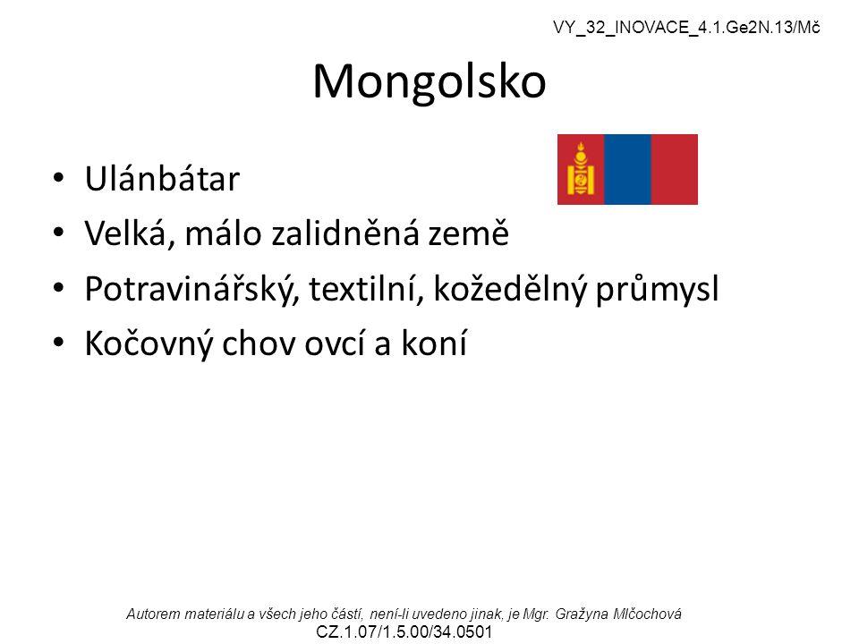 Mongolsko Ulánbátar Velká, málo zalidněná země