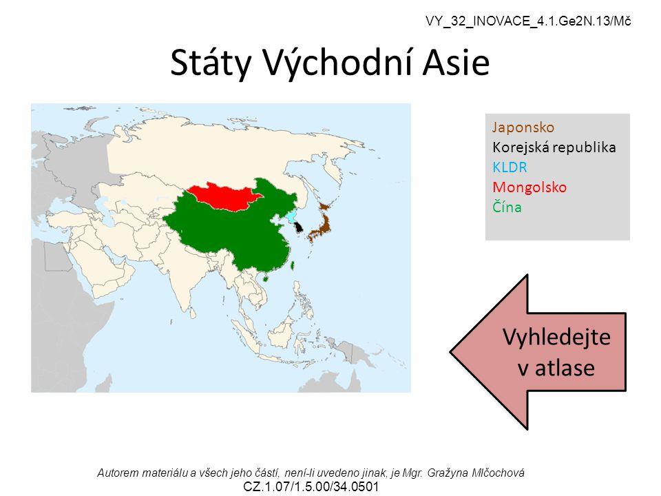 Státy Východní Asie Vyhledejte v atlase Japonsko Korejská republika