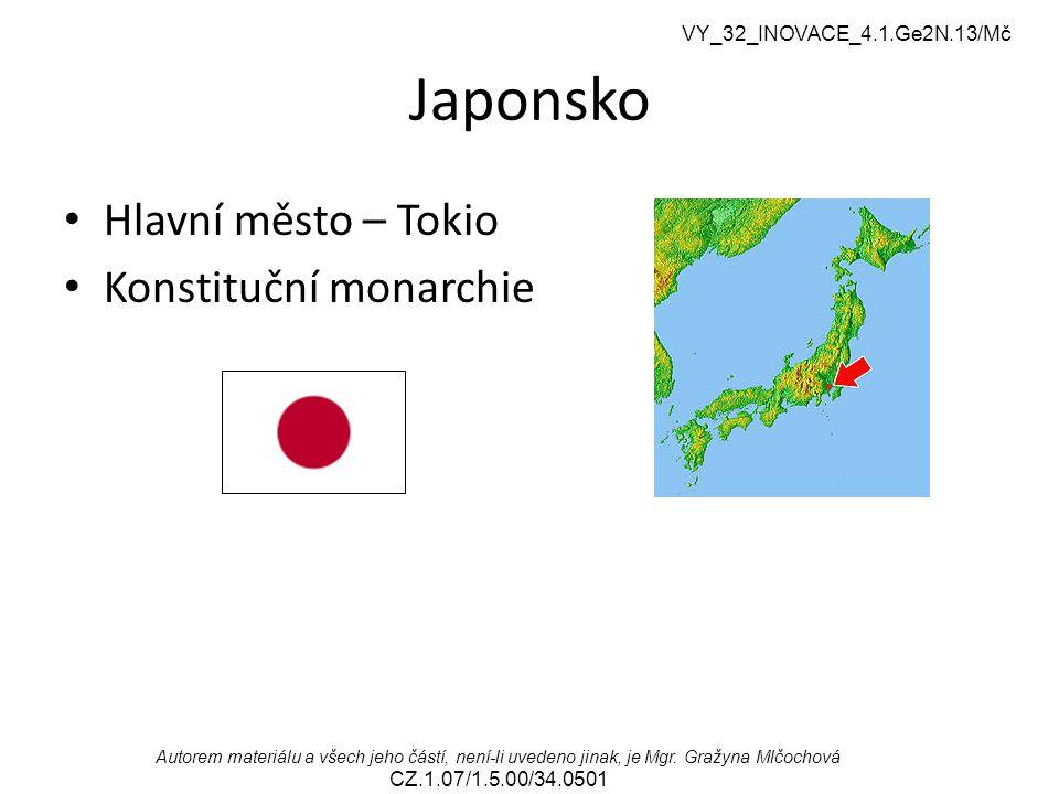 Japonsko Hlavní město – Tokio Konstituční monarchie
