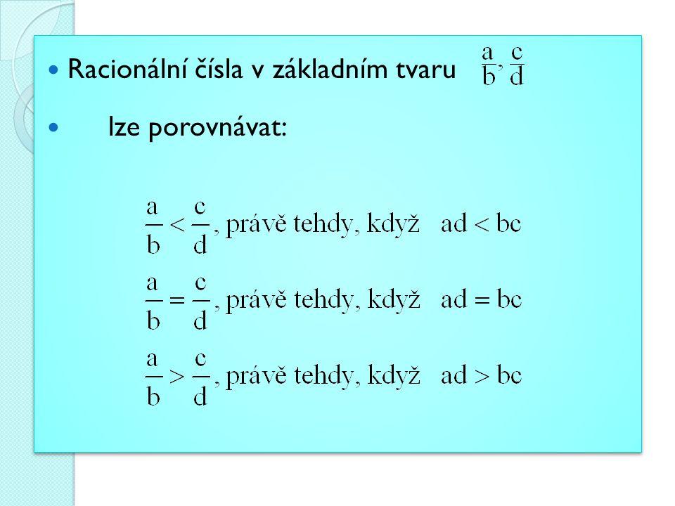 Racionální čísla v základním tvaru