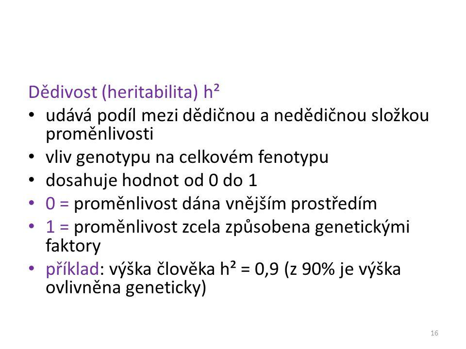 Dědivost (heritabilita) h²