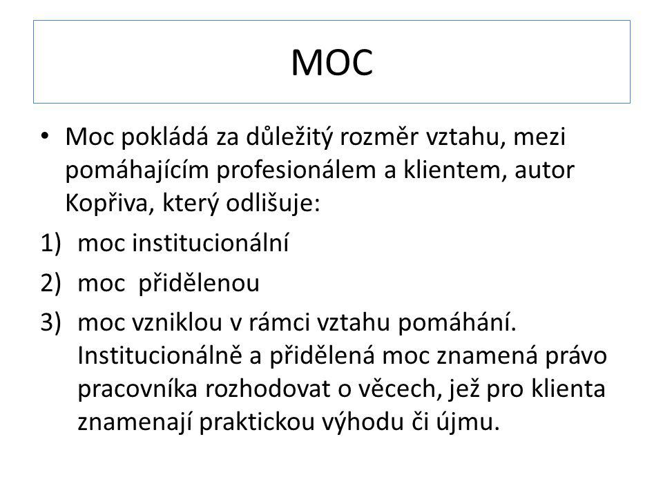 MOC Moc pokládá za důležitý rozměr vztahu, mezi pomáhajícím profesionálem a klientem, autor Kopřiva, který odlišuje: