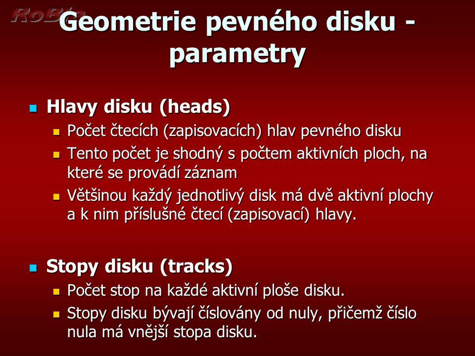Geometrie pevného disku - parametry