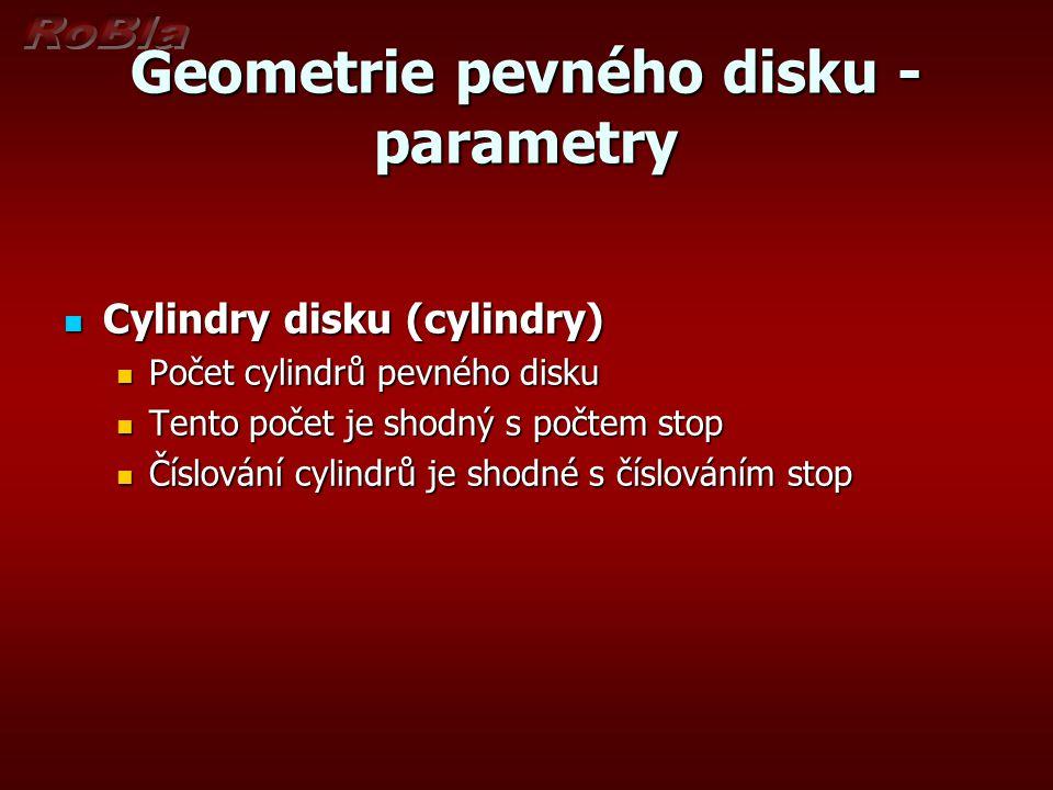 Geometrie pevného disku -parametry