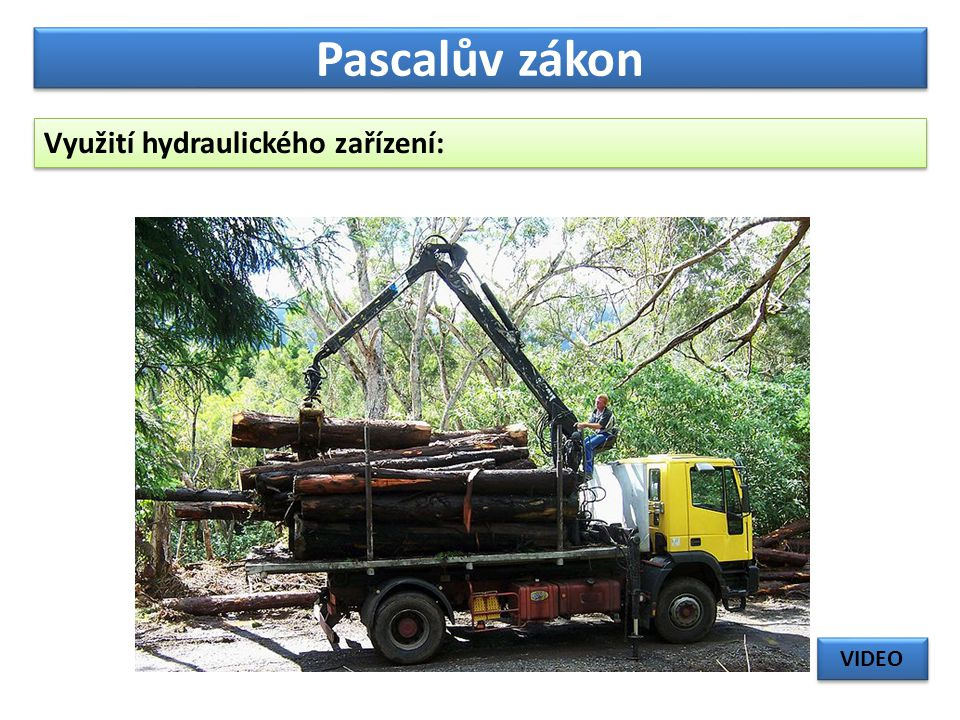 Pascalův zákon Využití hydraulického zařízení: VIDEO
