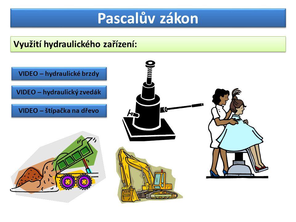 Pascalův zákon Využití hydraulického zařízení: