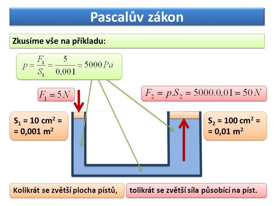 Pascalův zákon Zkusíme vše na příkladu: S1 = 10 cm2 = = 0,001 m2