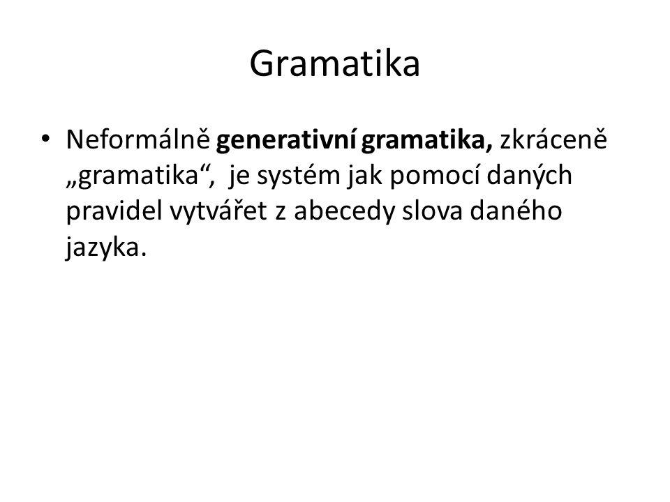 """Gramatika Neformálně generativní gramatika, zkráceně """"gramatika , je systém jak pomocí daných pravidel vytvářet z abecedy slova daného jazyka."""