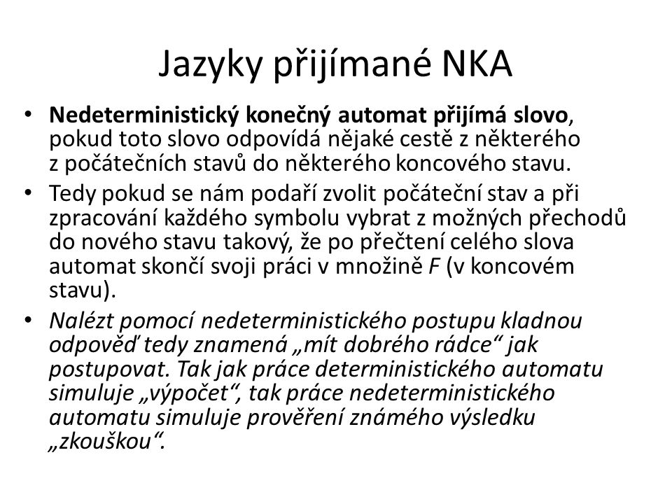 Jazyky přijímané NKA