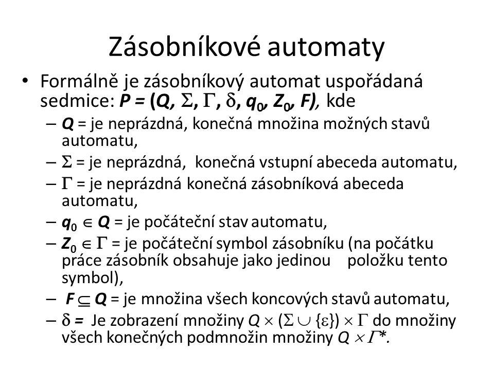 Zásobníkové automaty Formálně je zásobníkový automat uspořádaná sedmice: P = (Q, , , , q0, Z0, F), kde.