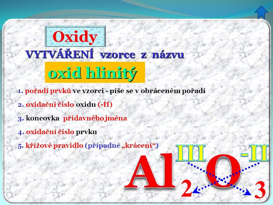 O Al 2 3 III -II Oxidy oxid hlinitý itý VYTVÁŘENÍ vzorce z názvu