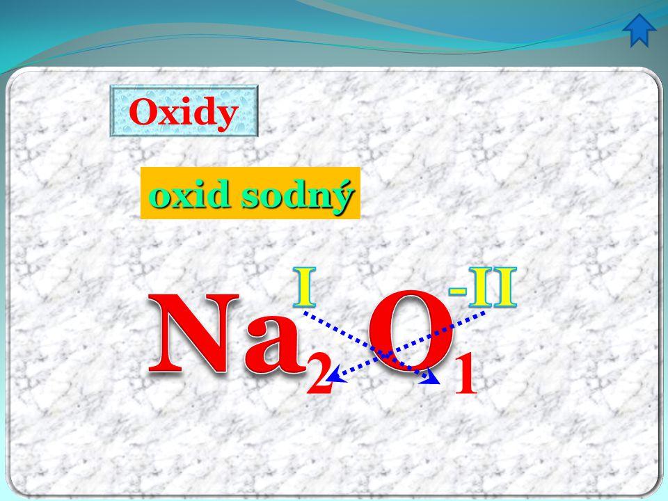 Oxidy oxid sodný ný I -II Na O 2 1