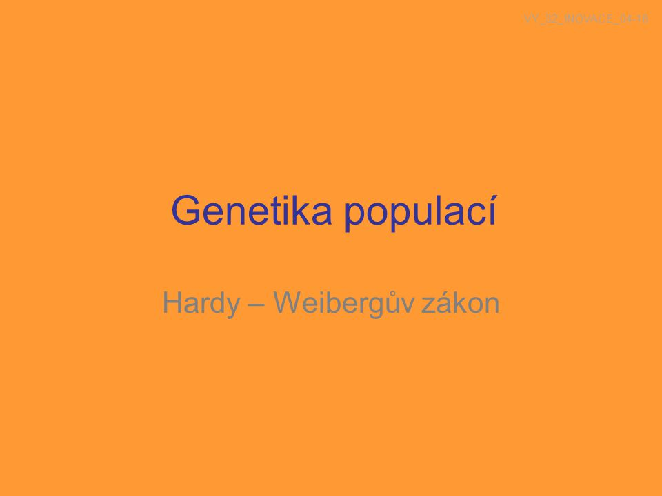 Hardy – Weibergův zákon