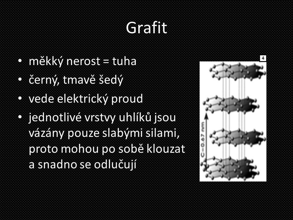 Grafit měkký nerost = tuha černý, tmavě šedý vede elektrický proud