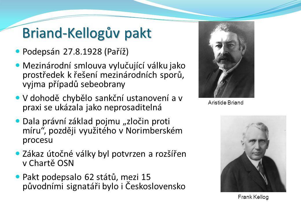 Briand-Kellogův pakt Podepsán 27.8.1928 (Paříž)