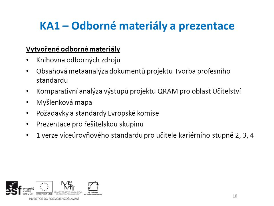 KA1 – Odborné materiály a prezentace