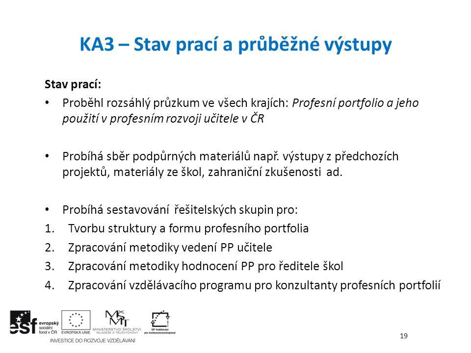 KA3 – Stav prací a průběžné výstupy