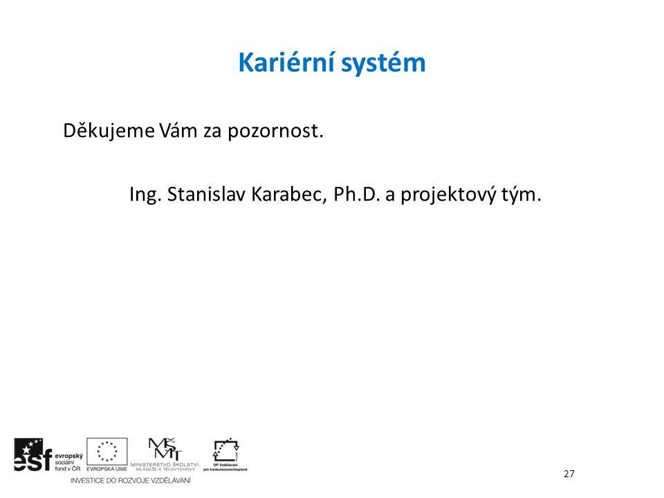 Kariérní systém Děkujeme Vám za pozornost. Ing. Stanislav Karabec, Ph.D. a projektový tým. 27