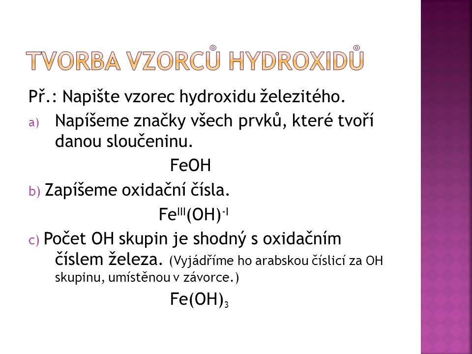 Tvorba vzorců hydroxidů