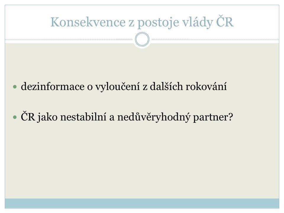 Konsekvence z postoje vlády ČR