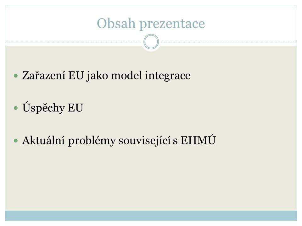 Obsah prezentace Zařazení EU jako model integrace Úspěchy EU