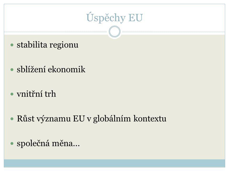 Úspěchy EU stabilita regionu sblížení ekonomik vnitřní trh