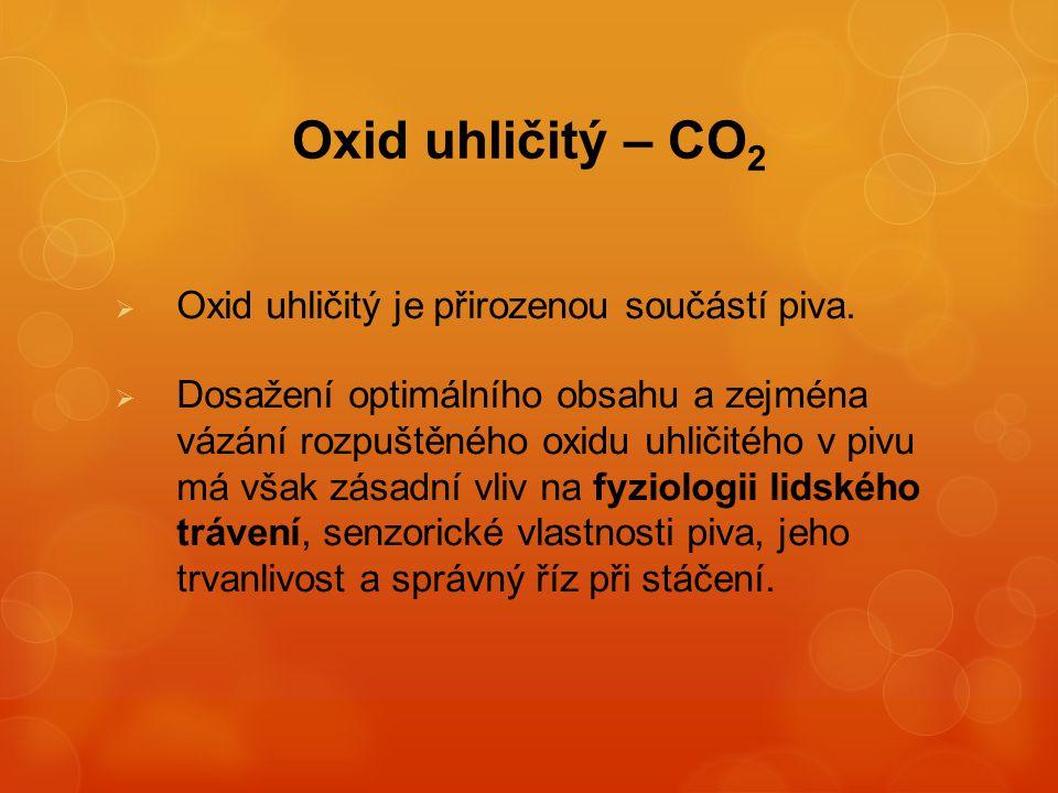 Oxid uhličitý – CO2 Oxid uhličitý je přirozenou součástí piva.