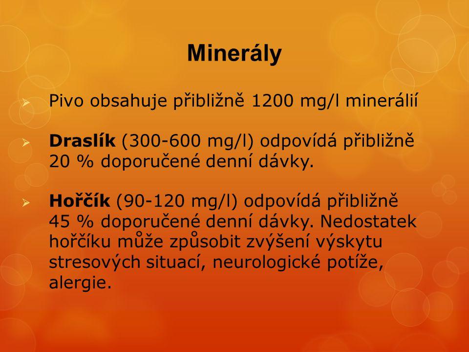 Minerály Pivo obsahuje přibližně 1200 mg/l minerálií