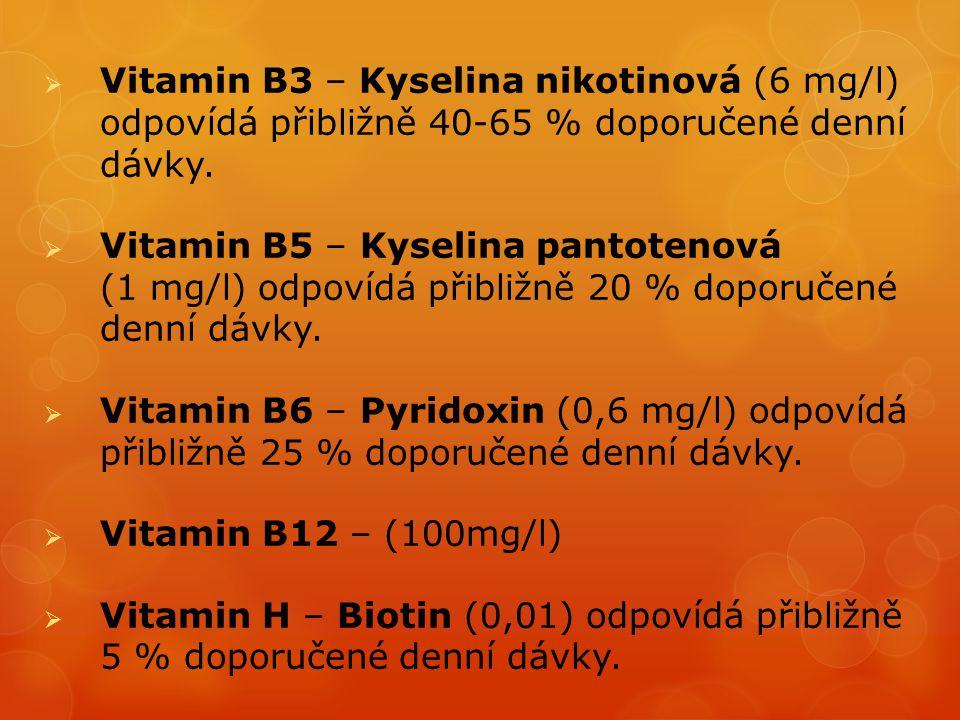 Vitamin B3 – Kyselina nikotinová (6 mg/l) odpovídá přibližně 40-65 % doporučené denní dávky.