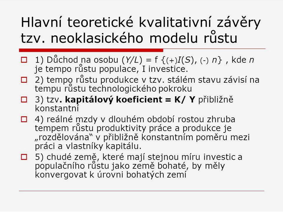 Hlavní teoretické kvalitativní závěry tzv. neoklasického modelu růstu