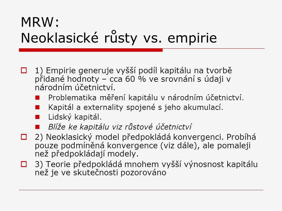MRW: Neoklasické růsty vs. empirie