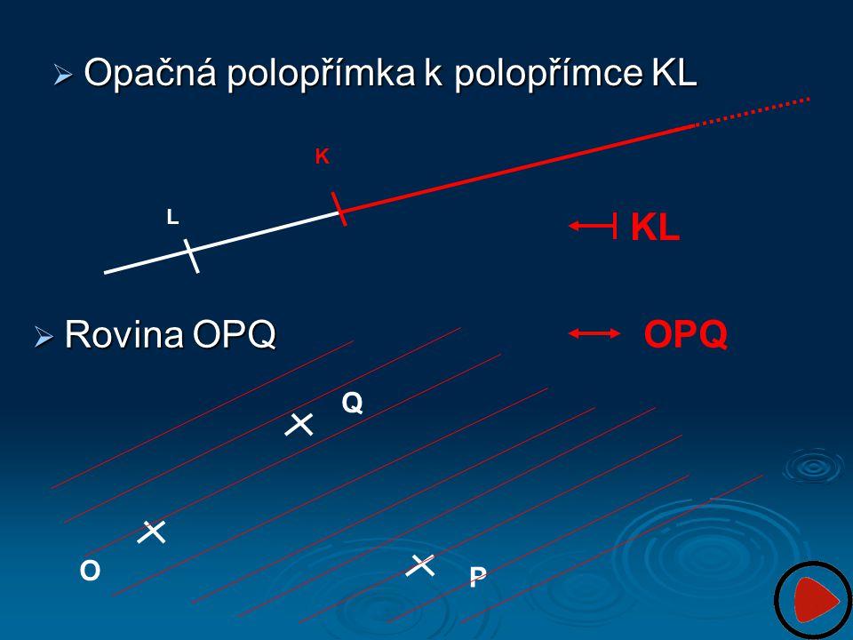 Opačná polopřímka k polopřímce KL