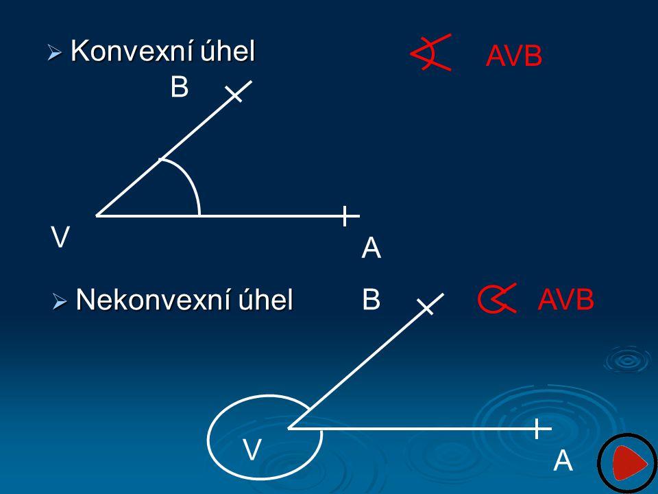 Konvexní úhel AVB B V A Nekonvexní úhel B AVB V A